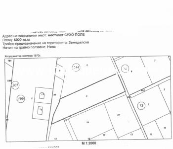 Нива с площ от 6000 кв.м до регулация на град Сандански